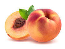 Персик и половина изолированные на белой предпосылке Стоковые Изображения RF