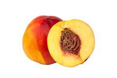 Персик нектарина изолированный на белом плодоовощ предпосылки Стоковое Изображение