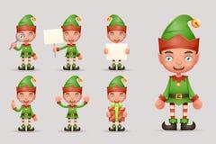 Персонажей из мультфильма праздника 3d Нового Года хелпера Санта Клауса рождества эльфа мальчика вектор установленного дизайна зн Стоковое фото RF