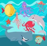 Персонажи из мультфильма животных морской жизни подводные Стоковые Фото