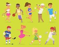 Персонажи из мультфильма мальчик вектора Ssportsmen и баскетбол людей девушки, хоккей, бейсбол, бежать счастливый спорт характера иллюстрация вектора