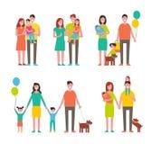 Персонажи из мультфильма членов семьи идя совместно иллюстрация вектора
