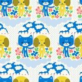 Персонажи из мультфильма кота и собаки милые под дождем Стоковые Фотографии RF