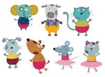 Персонажи из мультфильма над белизной Стоковое фото RF