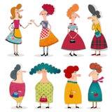 Персонажи из мультфильма над белизной Стоковые Изображения RF