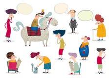 Персонажи из мультфильма над белизной Стоковые Фото