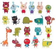 Персонажи из мультфильма над белизной Стоковое Изображение RF