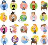 Персонажи из мультфильма различных профессий Стоковое Изображение RF