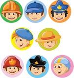 Персонажи из мультфильма различных профессий Стоковые Фото