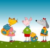 Персонажи из мультфильма. Свинья, собака и кошка Стоковое Изображение RF