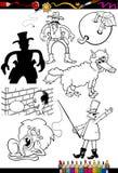 Персонажи из мультфильма установленные для книжка-раскраски Стоковые Изображения RF