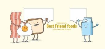 Персонаж из мультфильма бекона, яичницы, здравицы, молока, завтрака Стоковые Изображения