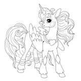 Персонаж из мультфильма для книжка-раскраски Doodle единорога пони Элемент для творческих способностей детей Вектор единорога ска стоковые фотографии rf