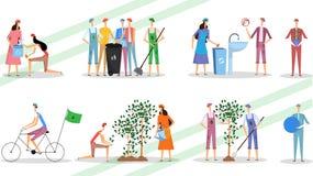 Персонаж из мультфильма людей держа мусорную корзину Концепция загрязнения пластмассы стопа бесплатная иллюстрация