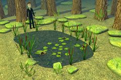 Персонаж из мультфильма около озера пущи иллюстрация штока