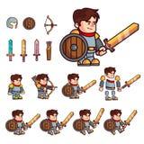 Персонаж из мультфильма рыцаря Характер подготовлен для анимации или создавать видеоигры фантазии Характер с комплектом дополните бесплатная иллюстрация