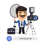 Персонаж из мультфильма фотографа с инструментами Стоковое Изображение