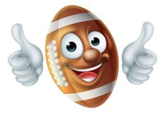 Персонаж из мультфильма шарика американского футбола Стоковое Изображение