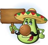 Персонаж из мультфильма авокадоа мексиканский знак удерживания деревянный Стоковое Изображение