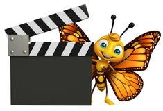 персонаж из мультфильма бабочки потехи с clapboard Стоковое Изображение