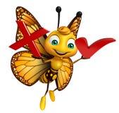 Персонаж из мультфильма бабочки с правым знаком и крест подписывают Стоковые Изображения
