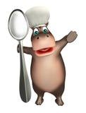 Персонаж из мультфильма гиппопотама потехи с шляпой и ложкой шеф-повара иллюстрация вектора