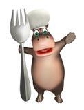 Персонаж из мультфильма гиппопотама потехи с шляпой и ложкой шеф-повара бесплатная иллюстрация