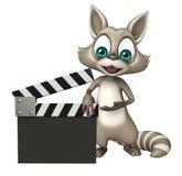 Персонаж из мультфильма енота потехи с clapboard Стоковая Фотография