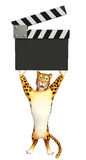 Персонаж из мультфильма леопарда с clapboard Стоковое Изображение RF