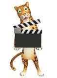 Персонаж из мультфильма леопарда с clapboard Стоковые Изображения