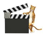 Персонаж из мультфильма леопарда с clapboard Стоковое Фото