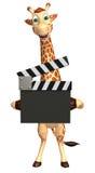 Персонаж из мультфильма жирафа с clapboard Стоковое Изображение RF