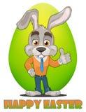Персонаж из мультфильма зайчика Счастливая поздравительная открытка пасхи Милый кролик показывая большой палец руки вверх, зелено Стоковые Изображения