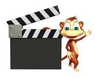 Персонаж из мультфильма обезьяны с clapboard Стоковые Изображения RF