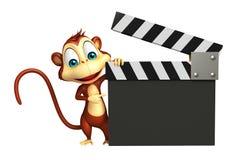Персонаж из мультфильма обезьяны с clapboard Стоковое Изображение RF