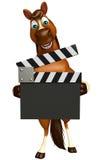 персонаж из мультфильма лошади потехи с clapboard Стоковые Изображения RF