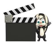 Персонаж из мультфильма скунса с clapboard Стоковое Изображение