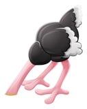 Персонаж из мультфильма страуса похороненный головой Стоковые Изображения