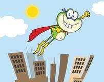Персонаж из мультфильма супергероя лягушки летая над городом бесплатная иллюстрация