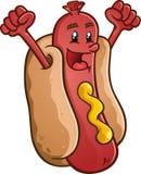 Персонаж из мультфильма хот-дога празднуя с ободрением Стоковое Изображение RF