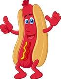 Персонаж из мультфильма хот-дога с большим пальцем руки вверх Стоковая Фотография