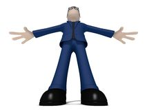 персонаж из мультфильма 3D против угла Стоковое Изображение