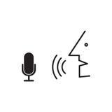 Персона говорит в микрофон Процесс распознавания речи Стоковое Фото