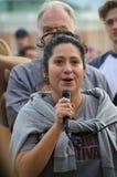 Персона говоря на протесте козыря стоковое изображение rf
