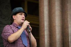 Персона говоря на протесте козыря стоковые фотографии rf