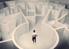 Персона дела стоя в центре лабиринта Стоковые Изображения RF