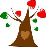 персона дерева зеленых и красных сердец иллюстрация вектора