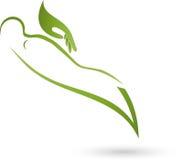 Персона и рука, массаж и протезный логотип иллюстрация штока