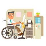 Персона кресло-коляскы в офисе Иллюстрация вектора