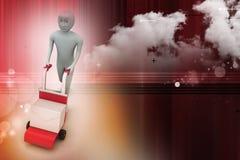 Персона нажимая вагонетку руки с коробкой полной конвертов Стоковые Фотографии RF